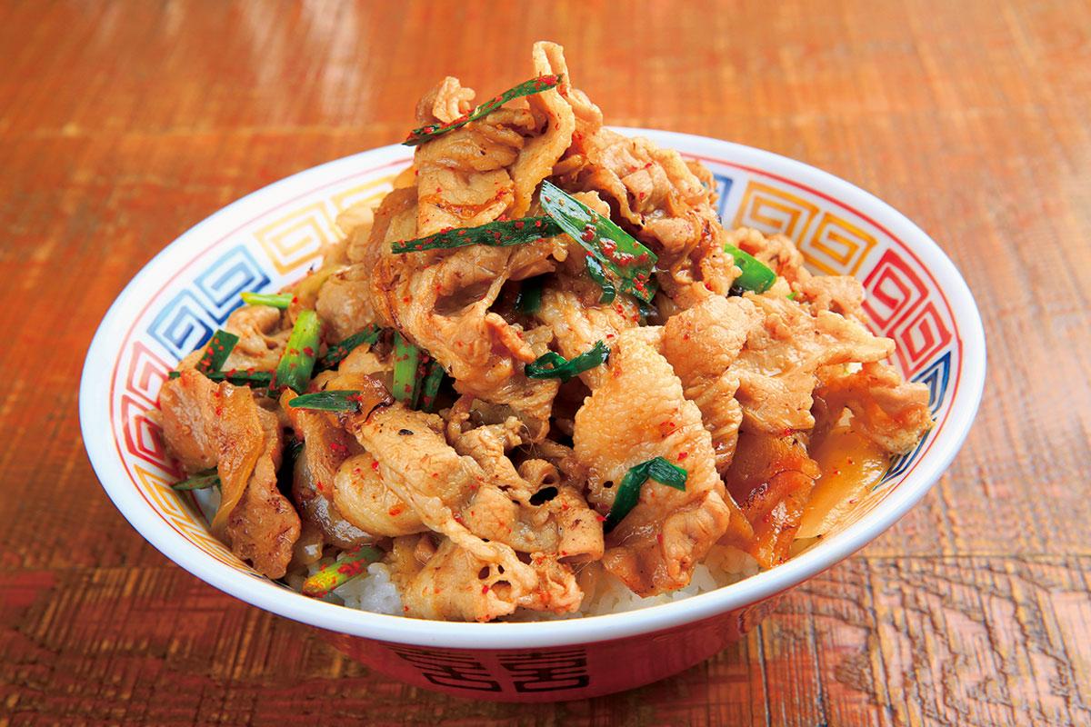 ピリ辛スタミナ丼(スープ付き)
